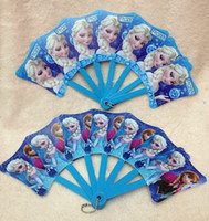 Wholesale Hot New Frozen Princess hand fans Anna amp Elsa Cartoon folding fan Plastic hand fan Summer cool tools girls and boys gift