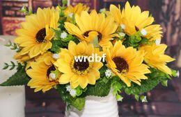 Wholesale 10Pcs cm quot Length Artificial Silk Flowers Simulation Spring Sunflowers with Starry Seven Flower Heads per Bush Wedding Supplies