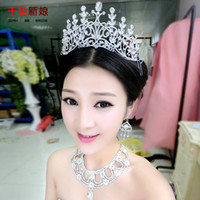 Wholesale QS Thousands of colors bridal jewelry Korean luxury diamond crown laurel goddess of marriage necklace three piece wedding dress accessories