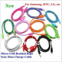 android pc sync - DHL Micro USB Adapter Fabric Braided Woven Rope Data Sync Charger Charging Cables M ft M ft M ft Android Phone