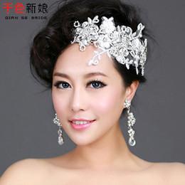 Wholesale QS Fluttering cherry Korean bride headdress flower head flower handmade lace wedding dress with short hair jewelry diamond jewelry turnover