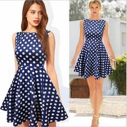 Hot Sale Women Casual Summer A-line Dresses Polka Dot Print Celebrity Vintage Mini Dress For Women Free Shipping DK3005CL
