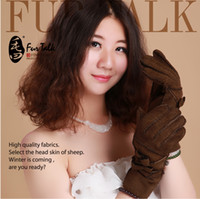 Wholesale ladies sheepskin gloves for winter with bowknot