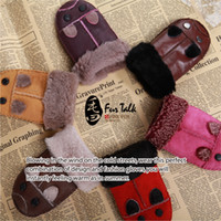 Wholesale Lamb Fur Leather Glove For Kid