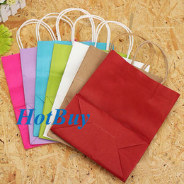 Wholesale Fashion Hand Length Handle Wedding Party Luxury Recyclable Loot Kraft Paper Gift Bag x21x11cm