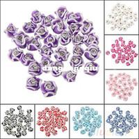 al por mayor arte del clavo de goma-Wholesale-30Pcs Moda Cerámica uñas Rubber Rose del Rhinestone del color de la flor herramientas del arte del clavo de la decoración 3D