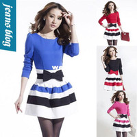 Casual Dresses V_Neck A Line Wholesale-new spring 2014 Long Sleeve Dresses Women casual dress Slim Sexy women clothing winter patchwork vintage dress BB 8528