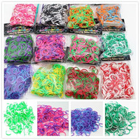Wholesale TIE DYE loom bands kit diy rainbow loom bracelet rubber bands hook s clip