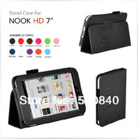 Cheap Free shipping New Luxury Folio Stand Leather Shell Case Cover Pouch For Barnes Noble B&N Nook HD 7 7' Tablet