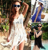 Wholesale Details about Sexy Women Hollow Crochet Beach Wear Swimwear Bikini Cover Up Shirt Dress