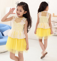 New Arrival Summer Girls Dressy Lace Chiffon Dress Tutu Dres...