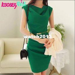 Wholesale Summer cowl neck ol slim elegant fashion women office dress sleeveless bandage lady dress new women clothes dress with belt