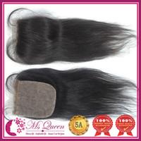 "Brazilian Hair Natural Black Straight 5A Best Quality silk base closure 100% Human Hair straight (4""x 4"",5""x5"") free part Queen Hair Products brazilian remy hair"