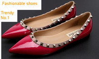 pink ladies shoes - Fashion Shoes Genune Leather Shoes for Woman Lady Dress shoes Rivet Shoes Wedding Shoes Cow Leather Pig Leather Lining