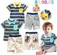 Boy Summer Short Wholesale -Summer Casual Child Suit Kids Sets Children Set Kids Suit Outfits Two-Piece Fashion Short Sleeve stripe t-shirt+Pants