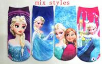 Wholesale 60pairs children autumn socks frozen ankle sock Elsa Anna printting girls cartoon socks polyester cotton socks mix styles