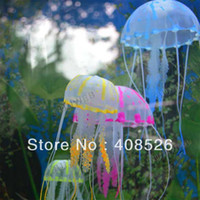 Wholesale New Cute Fluorescent Artificial Jellyfish Decoration Glowing Effect for Aquarium Fish Tank Ornament Bath Decor