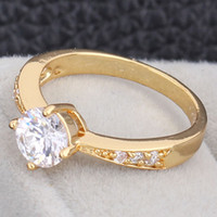 Wholesale Trendy K Plated Gold Band Rings European Style Rhinestone Copper Finger Rings Jewelry For Women Wedding Presents J1277 J B