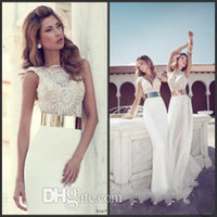 A-Line belt with crystals - Julie Vino Three Styles Illusion Neck Bateau V Neck Cap Sleeve Chiffon Beaded Summer Beach Garden Sheath Wedding Prom Dresses with Belt