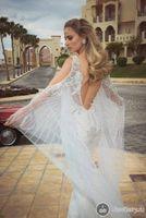 Trumpet/Mermaid beach bats - 2014 Backless Wedding Dress Mermaid Deep V Neck Organza Bridal Gowns Beading Pearls Crystals Sheer Neck Long Bat Sleeves Beach Tal Kahlon