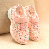 diamante shoes - New Arrival Spring Autumn Children Shoes Mesh Ventilation Diamante Kids Girl Running Shoes Sneaker Child Shoe pair GX405