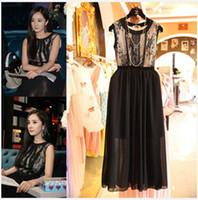 Wholesale 2014 New Fashion Women s Lace Chiffon Splicing Long Vest Dress Lady s Sleeveless Lace Chiffon Dresses Party Dresses S0606