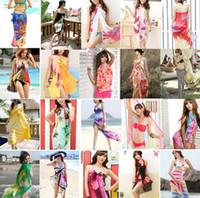 Wholesale 2016 Fashion Colorful Sheer Chiffon Beach Swimwear Bikini Cover Up Scarf Wrap Sexy Pareo Dress Sarong Styles to Choose YZ70