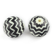 Wholesale 20mm Acrylic Chunky Beads Zig Zag Chevron Black Beads Ivory White Striped Bumballgum Beads Summer Decoration