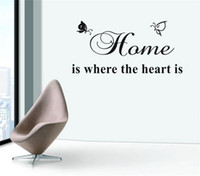 Wholesale Home is Where The Heart Is Quotes DIY Wall Sticker Removable Vinyl wall Decor Home wall mural