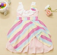 Wholesale New Children Colorful Slanted Bar Sleeveless Pleated Chiffon Dress Kid Ruffle Collar Princess Dresses Little Girls Striped Vest Dressy I1320