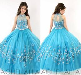 New Arrival 2015 A-line little Kids Crystal Glitz Beauty Hunter Pageant Dress Flower Girl Dresses For Wedding