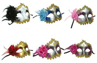 Cheap The new PVC Halloween, Mardi Gras masquerade party masks, Free gold trim with flower face masks (random delivery)