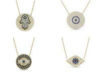 Wholesale 2014 New Arrival Crystal Evil Eye Pendant Necklace Fashion Rhinestone Hamsa Hand Turkey s Blue Eye Women s Lucky Jewelry High Quality