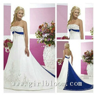 Wholesale 2014 Modern white and blue A line satin wedding dresses embroidery court train sexy strapless backless formal church bridal gowns BO5759