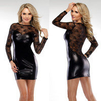 Wholesale 2014 New Arrival Sexy Lycra Faux Leather Club Costume Fetish Wear Dress Size S M FE