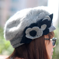Wholesale S5Q Womens Lady Warm Flower Winter Wool Hat Beanie Cap Beret Patchwork AAACPC