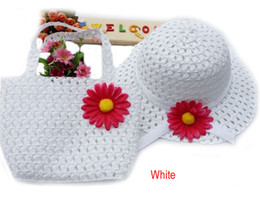 Wholesale Lovely Sunflower Flower Summer Hat Girls Kids Beach Hats Bags Flower Straw Hat Cap Tote Handbag Bag Suit fit Years child