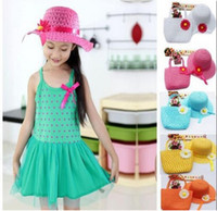 Wholesale 2014 Girls Flower Straw Beach Hat weave Tote Handbag Bag Sets Baby Summer Straw Sun hat Kids Children Topee Colors Mixed