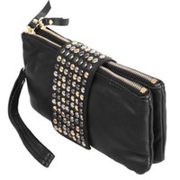 Wholesale 2014 new arrive Hot selling PU Leather fashion designer Rivet bag women wallet Clutch Bag day clutch evening bags purse
