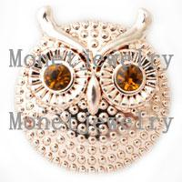 D00212 newest design lovely owl metal rose gold chunk noosa button jewellery
