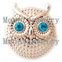 african jewellery wholesalers - D00211 newest design lovely owl metal rose gold chunk noosa button jewellery