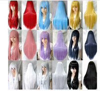Cheap 80cm women heat resistant 8 colors straight wig cosplay party Anime wigs with Gift