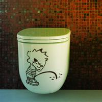 achat en gros de stickers muraux pour les toilettes-Cartoon Gratuit port toilettes décoration autocollants décoratifs créatifs salle de bain amovible imperméable en vinyle stickers muraux