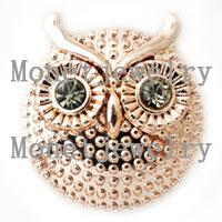 african jewellery designs - D00214 newest design lovely owl metal rose gold chunk noosa button jewellery