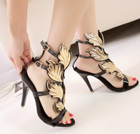 Wholesale New arrival fashion influx sweety nightclub summer female peep toe gold leaf flame star patent black heels sandals EU34