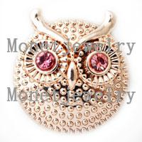 american jewellery designs - D00213 newest design lovely owl metal rose gold chunk noosa button jewellery