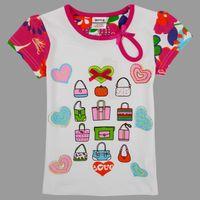 Wholesale nova new baby summer clothes fashion colorful bags print bead cotton white t shirt girls short sleeve tshirts K4193