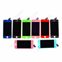 Wholesale LCD Display touch digitizer front screen glass full assembly for Iphone G green blue pink red dark blue