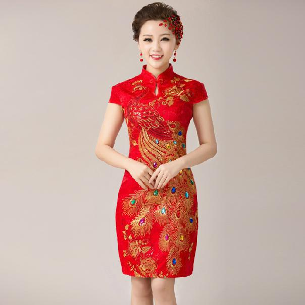 Vintage Short Wedding Dress Cheongsam Satin Lace Slim Sheath ...