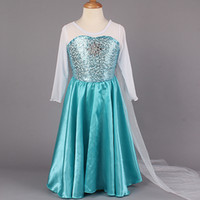 Wholesale 1406z summer dress girl party dress princess costume baby girls elsa dress lace long sleeve satin Sequins new frozen dress